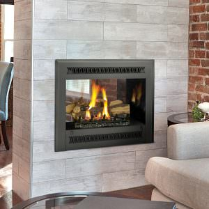 Fireplace Extrordinair 864 See-Thru Gas Fireplace with Metropolitan Face Black Painted W/ Black Enamel Firebrick with White Tile Surround