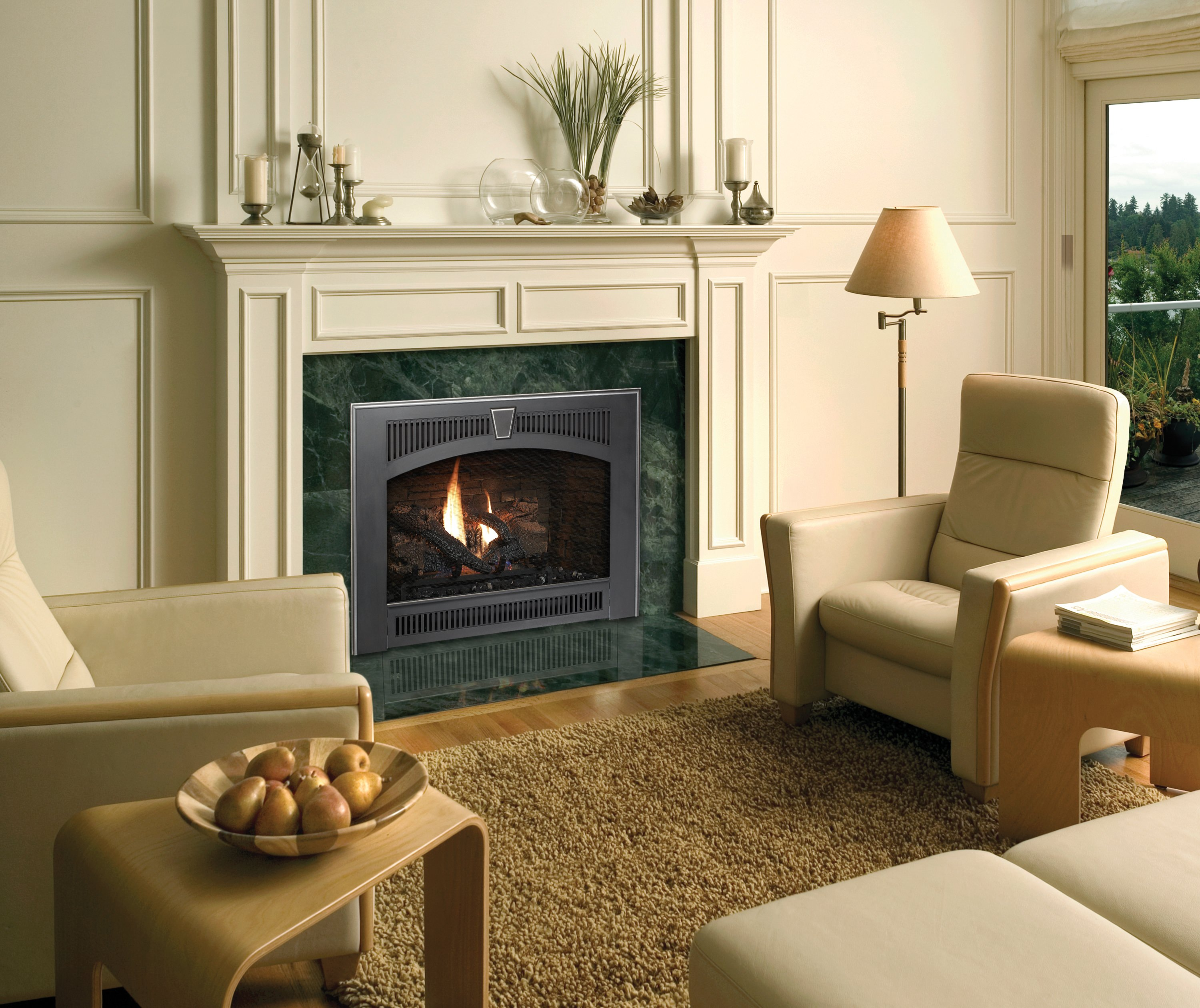 Fireplace Xtrordinair 564 SS Gas Fireplace with Legacy Face in Carbon Painted and Ledgestone Firebrick