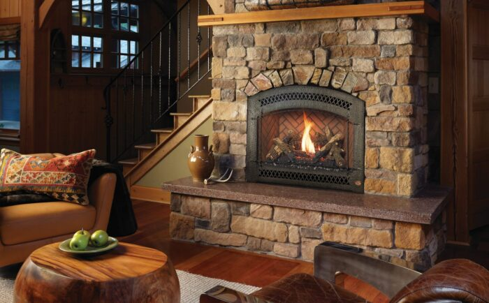 Fireplace Xtrordinair 864 HO EF GSR2 Gas Fireplace with Arched Artisan Patina Front