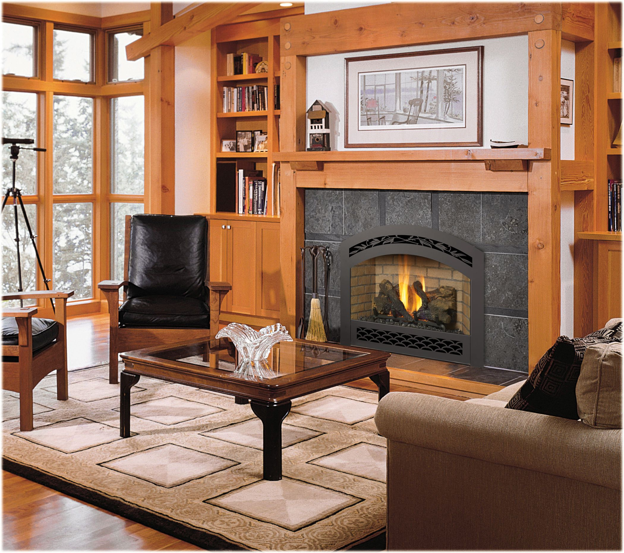 Fireplace Xtrordinair 564 SS Gas Fireplace with French Country Face Black Painted and Tan Brick Firebrick