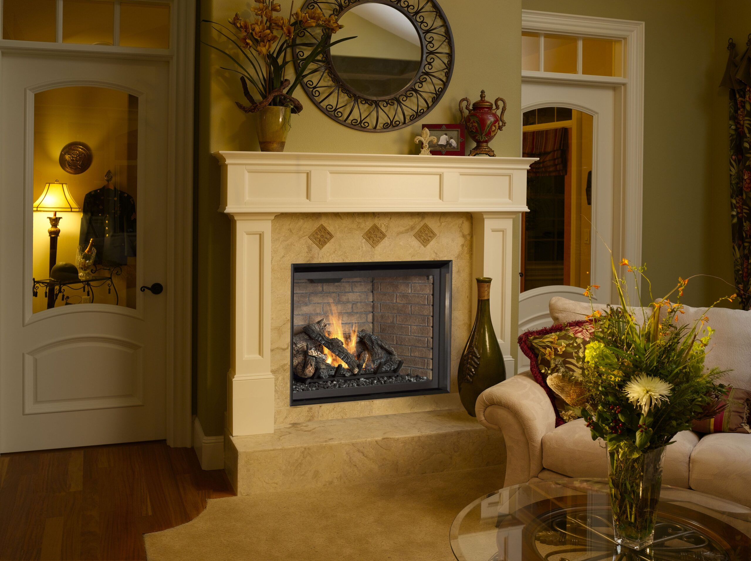 """Fireplace Xtrordinair 864 Clean Face Gas Fireplace with 2"""" Trim Kit and Reversible Common Brick Fireback"""