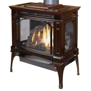 Lopi Berksire Gas Stove Oxford Brown Enamel - 3 Sided Glass