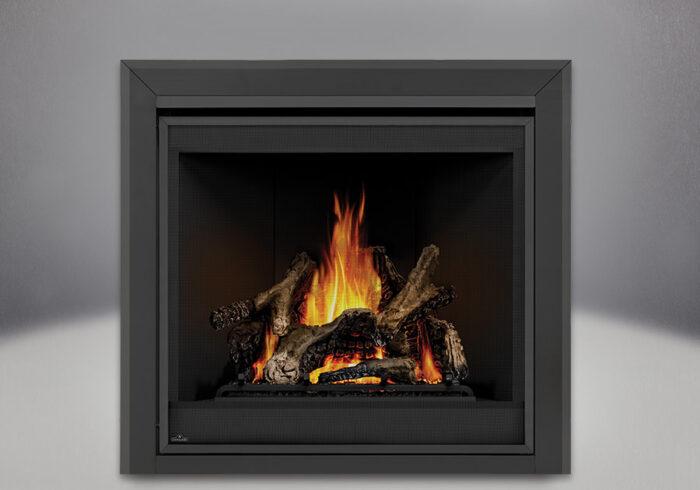 Ascent x 70 PHAZER Logs, MIRRO-FLAME Porcelain Reflective Radiant Panels, Bevelled Trim