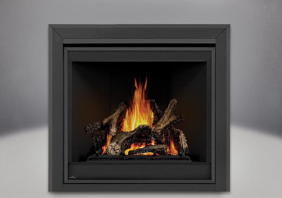 Ascent x 70 PHAZER Logs, MIRRO-FLAME Porcelain Reflective Radiant Panels, Bevelled Trim