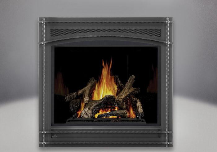 Ascent x 70 PHAZER Logs, MIRRO-FLAME Porcelain Reflective Radiant Panels, Wrought Iron Front