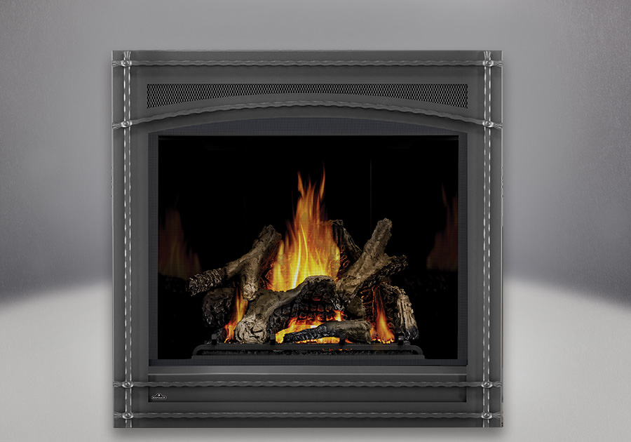 Ascent x 70 PHAZER Logs, MIRRO-FLAME Porcelain Reflective Radiant Panels, Wrought Iron Front
