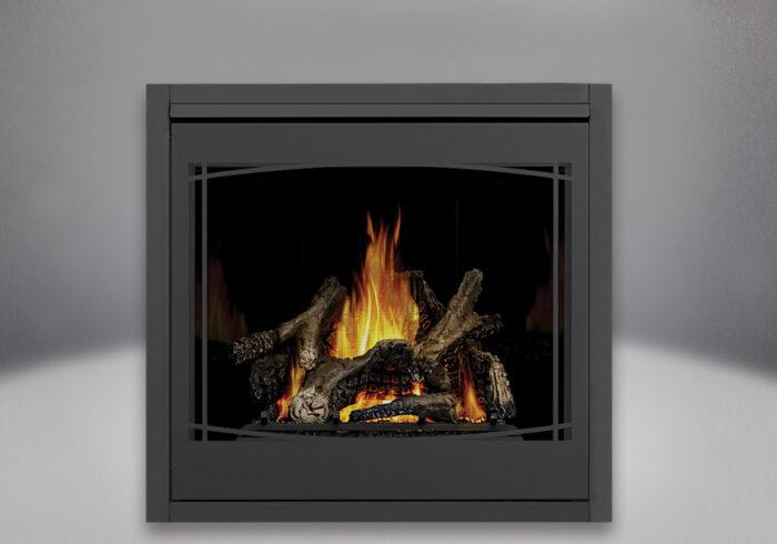 Ascent x 70 PHAZER Logs, MIRRO-FLAME Porcelain Reflective Radiant Panels, Zen Front