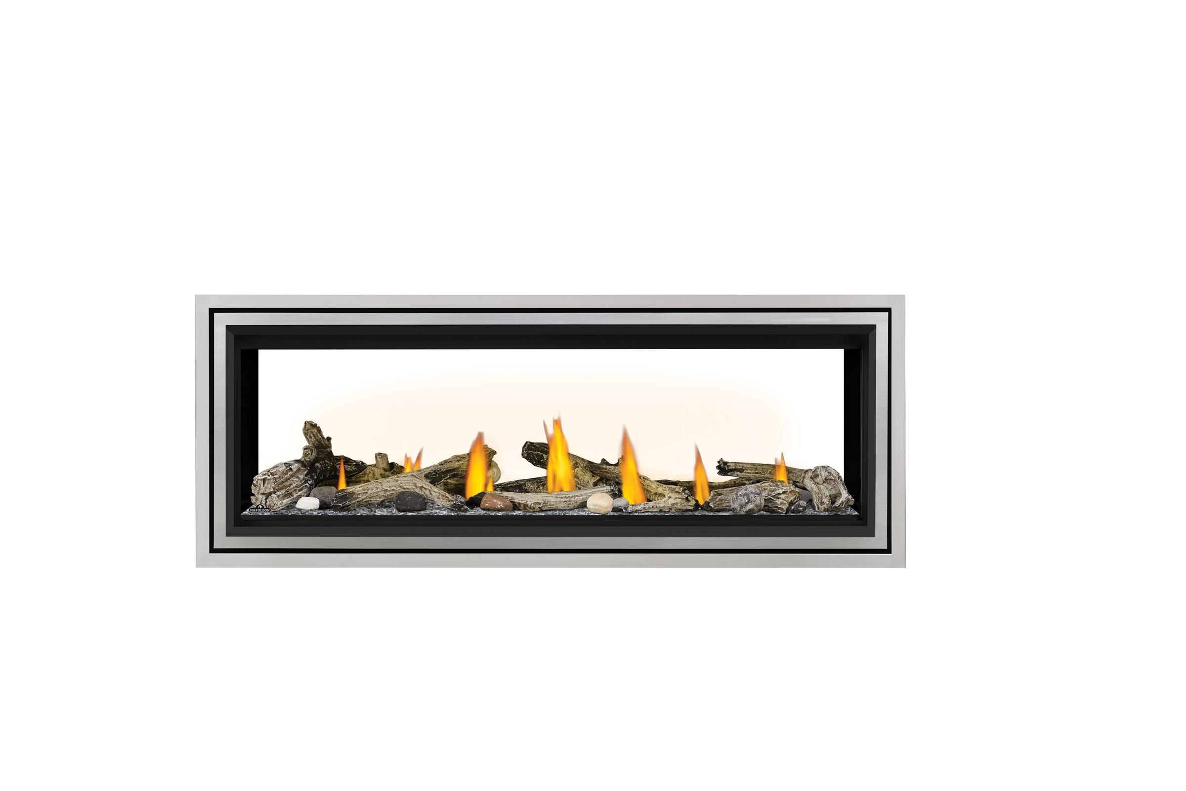 Napoleon Vector LV50 See Thru-Beach-Fire-Glass-Beads-SS-Trim-Premium-Safety-Barrier