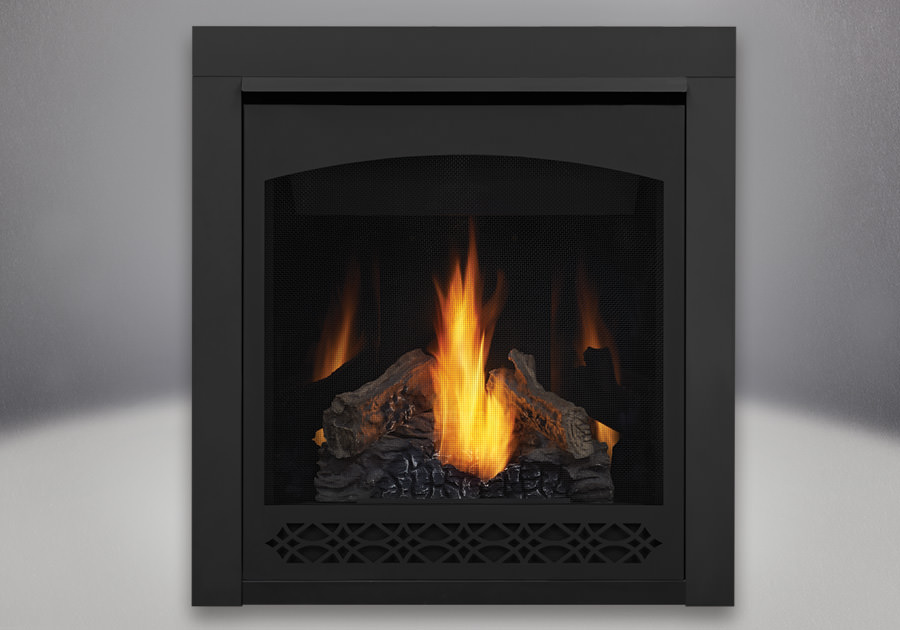 Napoleon Ascent 30 PHAZER Log Set, Decorative Front - Heritage, MIRRO-FLAME Porcelain Reflective Radiant Panels, 2 inch Trim Kit