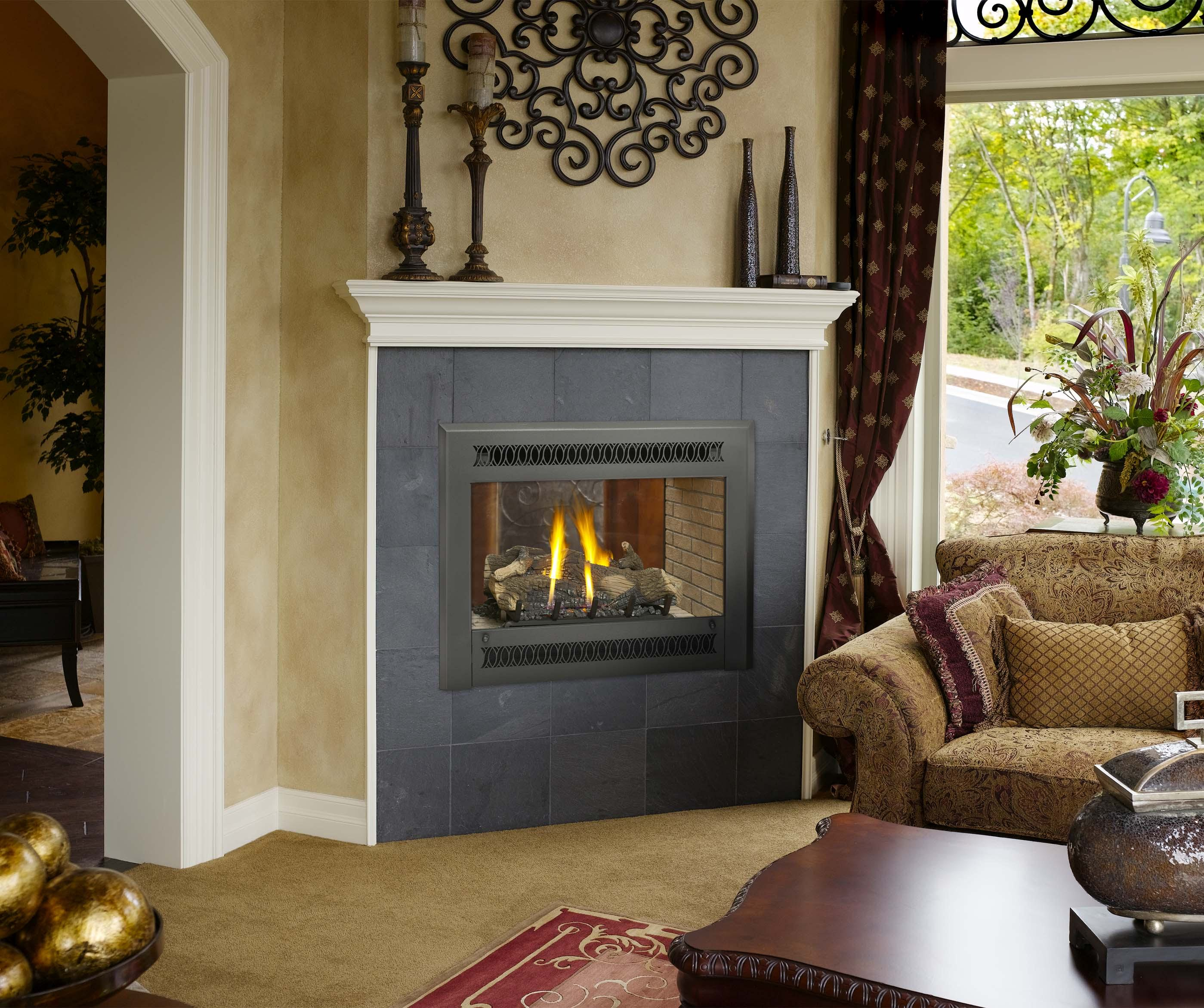 Fireplace Xtrordinair 864 See-Thru Gas Fireplace Metropolitan Face Black Painted with Tan Stacked Brick
