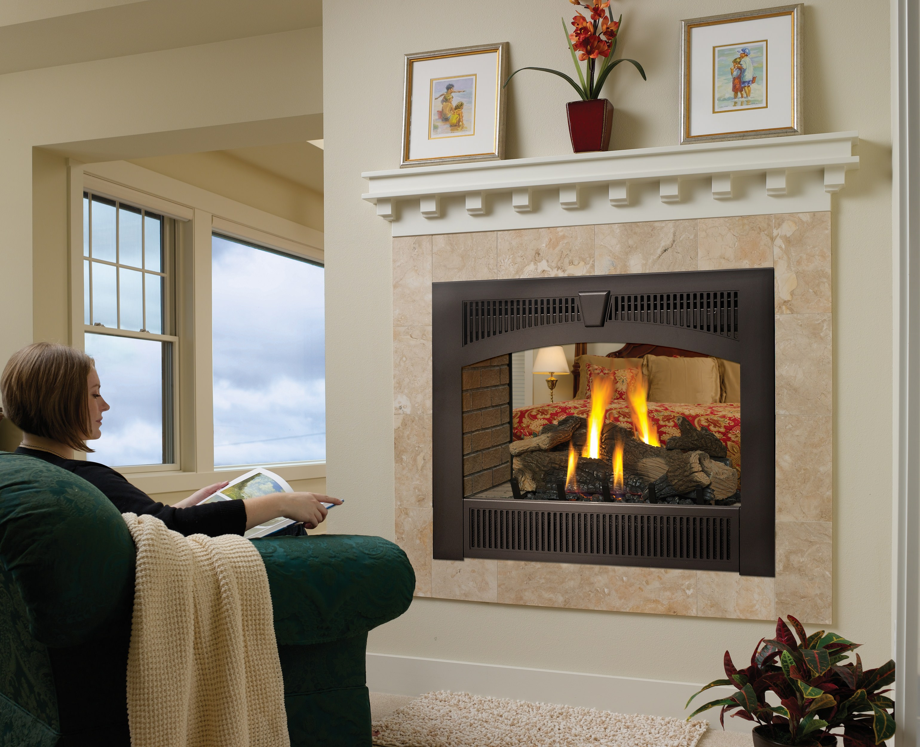 Fireplace Xtrordinair 864 See-Thru Gas Fireplace with Legacy Carbon Patina face and Tan Stacked Firebrick