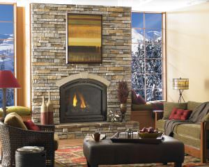 Heat & Glo - Cerona gas fireplace with Valencia Front