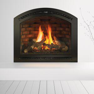 Heat & Glo - Cerona gas fireplace42 - Valencia Black Front and FireBrick