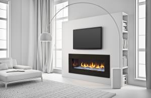 Heat & Glo PRIMO 48 Gas Fireplace- Crystal Glass with The Dunes Modern White Logs, Black Granite Surround