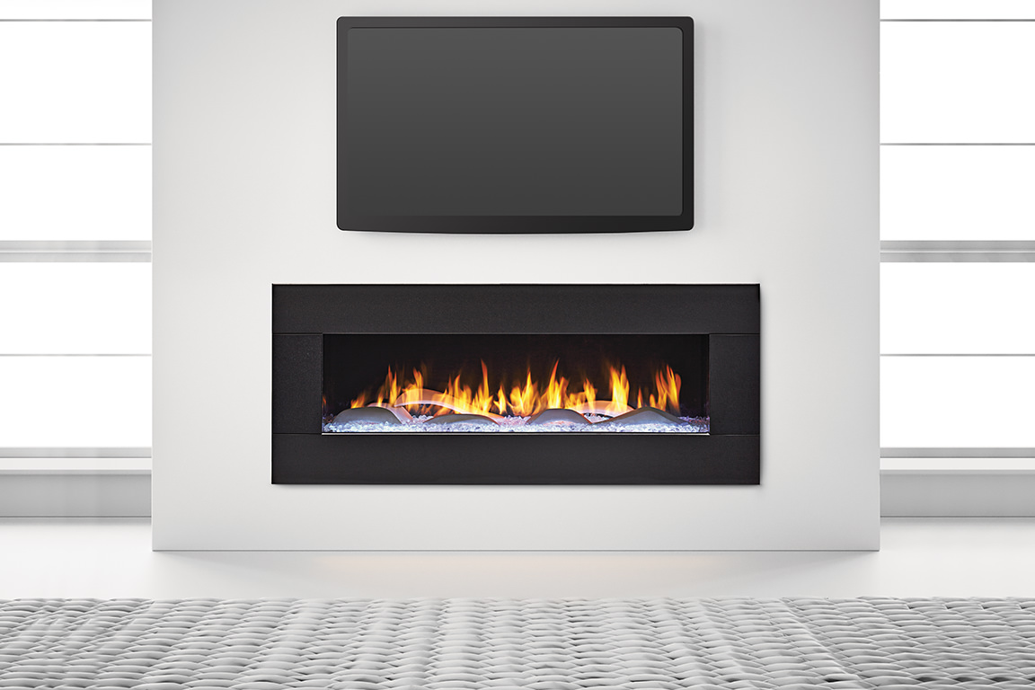 Heat&Glo - PRIMO 48 Crystal Glass with The Dunes Modern White Logs, Black Granite Surround,