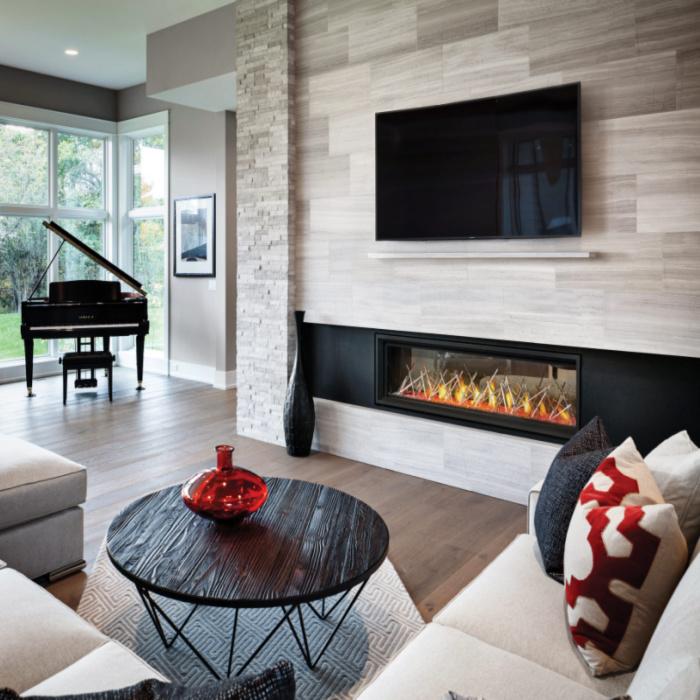 Vector LV62 nickle sticks contemporary living room mantel 1