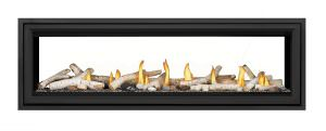 Napoleon Vector 62-LV62 See Thru-Birch-Logs-Topaz-Glass-Beads-Black-Trim
