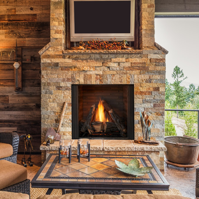 Courtyard outdoor gas fireplace