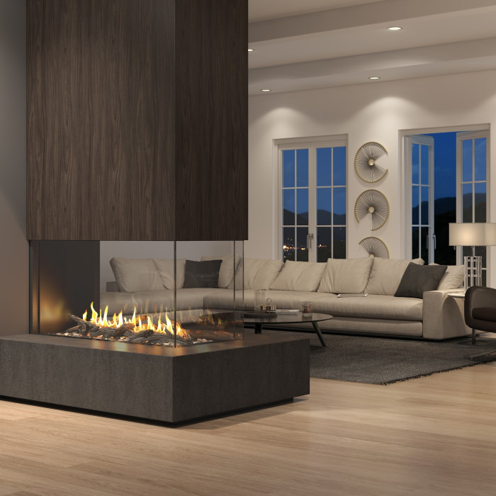 Foundation pier gas fireplaces