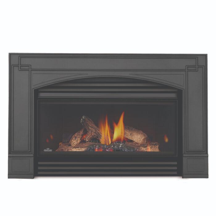 roxbury gi3600 sb curved blacklouvers archedcastironsurround prrp napoleon fireplaces 1
